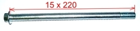 Axle 15x220mm with thread M6 on each end-dirt-bike-store
