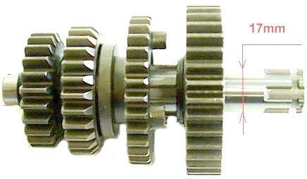 Countershaft after 2012 for pit bike engine Lifan 125, 140 and 150 since 2013 -start on any gear-
