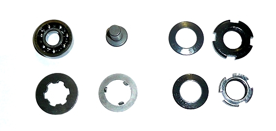 Set nuts, washer, bearing and push for clutch