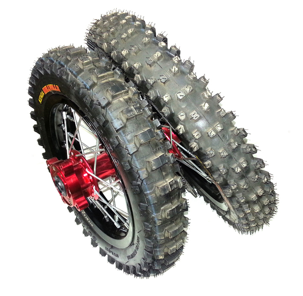 Pair wheel 12'' and 10'' PITSTERPRO LXR - with tire and brake disc-