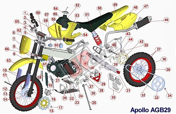 Microfiche Agb29 Am D5 Pro2 840 Pit Bike Parts And