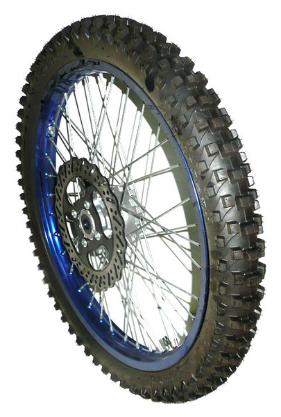 Blue aluminum front wheel 21''AGB30, AM-D8-XB30 with disc and tire-