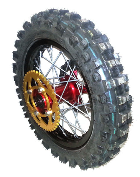 Rear wheel 12'' BUCCI MOTO with tire MAXXISS -with disk and sprocket-