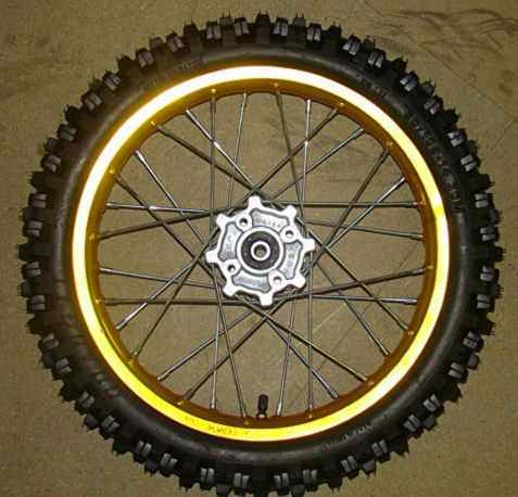 Wheel front 14''alu, yellow axis 15, hubs AGB29-2