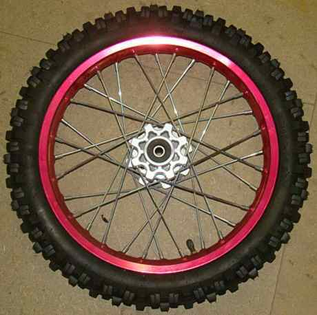 Wheel front 14''alu, red, shaft 15, hub AGB29-2