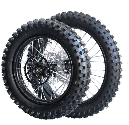 Wheel pair 14 + 17'' with tires, hubs type MX