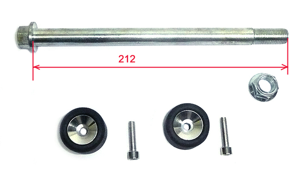 Motard wheel axle with rolls, 15x212mm
