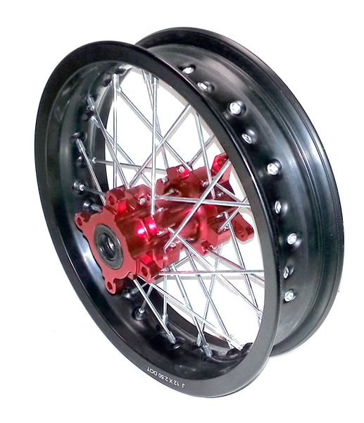 Rear wheel 12'' RED-ONE for Motard -rim 2.50-