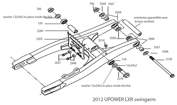 Parts list swingarm Pitsterpro LXR-UPower 2012